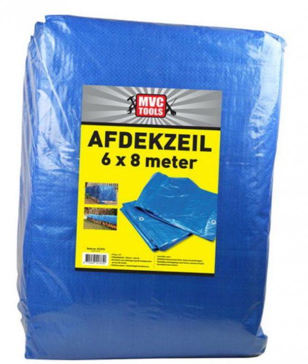 Blauw afdekzeil 6x8 meter 75 gram per m2 MVC-tools