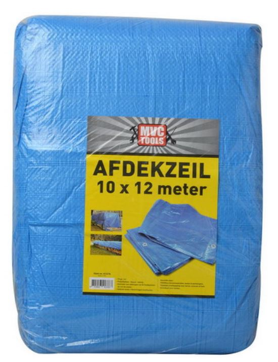 Blauw afdekzeil 10x12 meter 75 gram per m2 MVC-tools