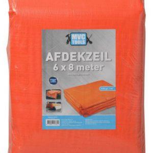 Oranje afdekzeil 6x8 meter 150 gram per m2 MVC-tools