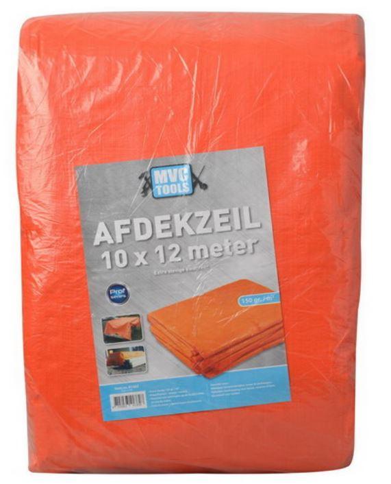 Oranje afdekzeil 10x12 meter 150 gram per m2 MVC-tools
