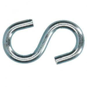 Metalen s-haak voor het ophangen, verbinden en opspannen van dekkleden en afdekzeilen