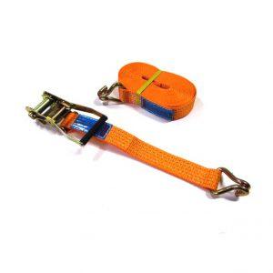 Spanband 9 meter met ratel en haken 50 mm oranje