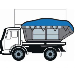 Tekening van een vrachtwagen met een blauw PVC containerkleed