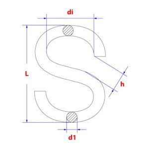 Tekening van s-haken voor maten zoals lengte en dikte