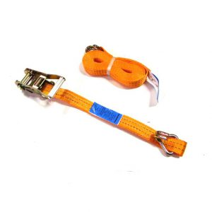 Spanband 6 meter met ratel en haken 35mm oranje