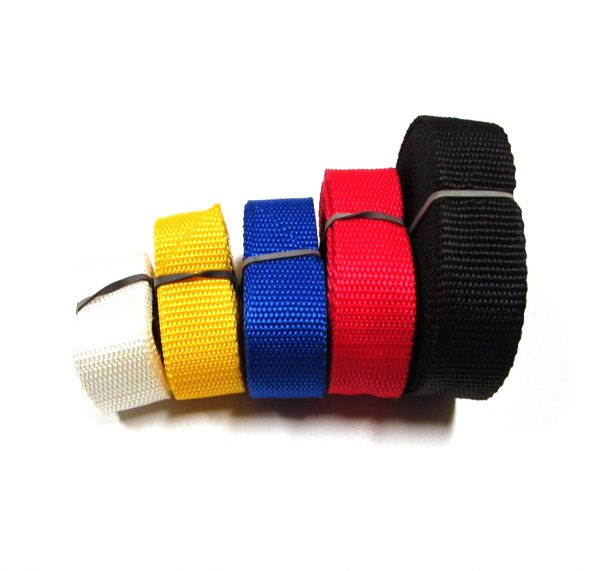 Sjorbanden Fasty: 100 cm wit, 150cm geel, 200cm, blauw, 250cm rood en 350cm zwart