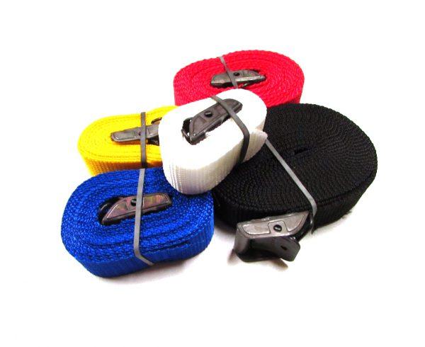 Sjorband Fasty met gesp: 100 cm wit, 150 cm geel, 200 cm blauw, 250 cm rood en 350 cm zwart